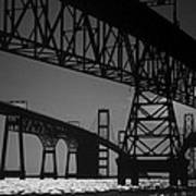 Chesapeake Bay Bridge At Annapolis Art Print by Skip Willits