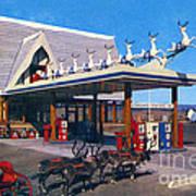 Chevron Gas Station At Santa's Village With Reindeer And Carl Hansen Art Print