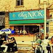 Chez Nick On Greene Avenue Montreal In Summer Cafe Art Westmount Terrace Bistros And Umbrellas Art Print