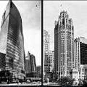 Chicago 333 And The Tower 2 Panel Bw Art Print
