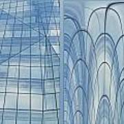 Chicago Abstract Before And After Blue Glass 2 Panel Art Print