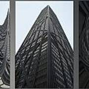 Chicago Abstract Before And After John Hancock Sw Facades Triptych 3 Panel Art Print