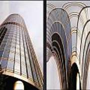 Chicago Abstract Before And After Sunrays On Trump Tower 2 Panel Art Print