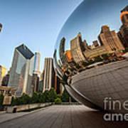 Chicago Bean Cloud Gate Sculpture Reflection Art Print