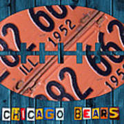 Chicago Bears Football Recycled License Plate Art Art Print