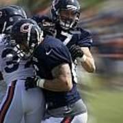 Chicago Bears Te Jeron Mastrud Moving The Ball Training Camp 2014 Art Print