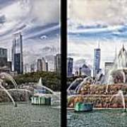 Chicago Buckingham Fountain 2 Panel Looking West And North Black Art Print
