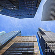 Chicago Buildings Upward View With Willis-sears Tower Art Print by Paul Velgos