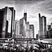 Chicago River Buildings Black and White Photo Art Print