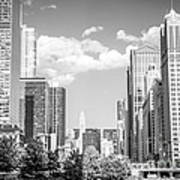 Chicago Cityscape Black And White Picture Art Print by Paul Velgos