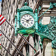 Chicago Clock On Macy's Marshall Field's Building Art Print