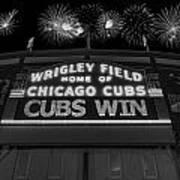 Chicago Cubs Win Fireworks Night B W Art Print