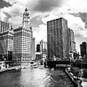 Chicago Downtown At Michigan Avenue Bridge Picture Art Print