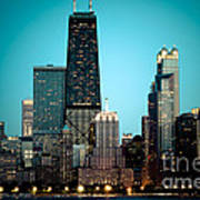 Chicago Downtown At Night With Hancock Building Art Print