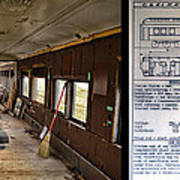 Chicago Eastern Il Rr Business Car Restoration With Blue Print Art Print
