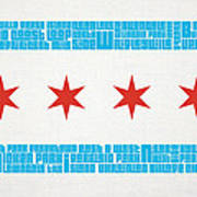 Chicago Flag Neighborhoods Art Print by Mike Maher