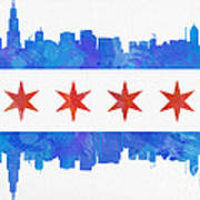 Chicago Flag Watercolor Art Print