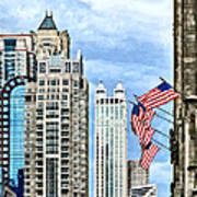 Chicago - Flags Along Michigan Avenue Art Print