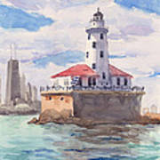 Chicago Harbor Light Art Print
