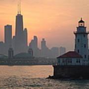 Chicago Harbor Lighthouse At Sunset Art Print