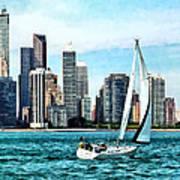 Chicago Il - Sailboat Against Chicago Skyline Art Print