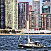 Chicago Il - Sailing On Lake Michigan Art Print