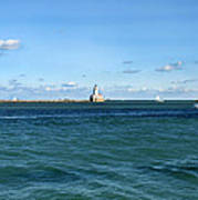 Chicago Illinois Harbor Lighthouse And Little Lady Tour Boat Usa Art Print