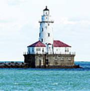 Chicago Illinois Harbor Lighthouse Close Up Usa Art Print
