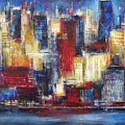 Chicago In The Evening Art Print