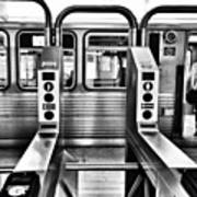 Chicago L Train Gate In Black And White Art Print