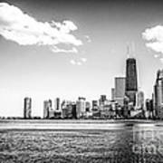 Chicago Lakefront Skyline Black And White Picture Art Print