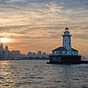 Chicago Lighthouse And Skyline Art Print
