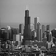 Chicago Looking East 02 Black And White Art Print
