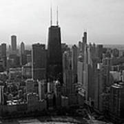 Chicago Looking South 01 Black And White Art Print