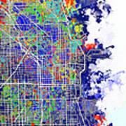 Chicago Map Color Splash Art Print