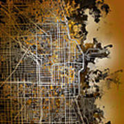 Chicago Map Orange Version Art Print