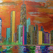 Chicago Metallic Skyline Art Print by Char Swift