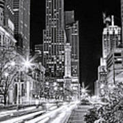 Chicago Michigan Avenue Light Streak Black And White Art Print