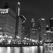 Chicago River At Night Black And White Art Print