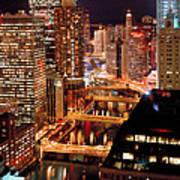 Chicago River At Night Art Print