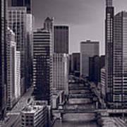 Chicago River Bridges South Bw Art Print