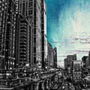 Chicago River Hdr Sc Textured Art Print