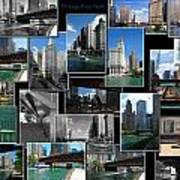Chicago River Walk Collage Art Print