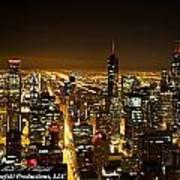 Chicago Skyline At Night I Art Print