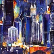 Chicago Skyline At Night Art Print