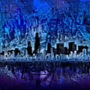 Chicago Skyline Blue Version Art Print