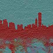 Chicago Skyline Brick Wall Mural  Art Print