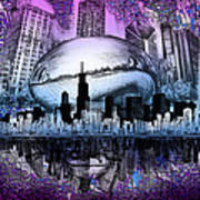 Chicago Skyline Drawing Collage 2 Art Print
