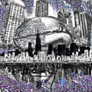 Chicago Skyline Drawing Collage Art Print