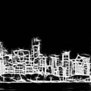 Chicago Skyline Fractal Black And White Art Print
